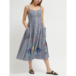 French Connection Embroidered Gingham Sundress New